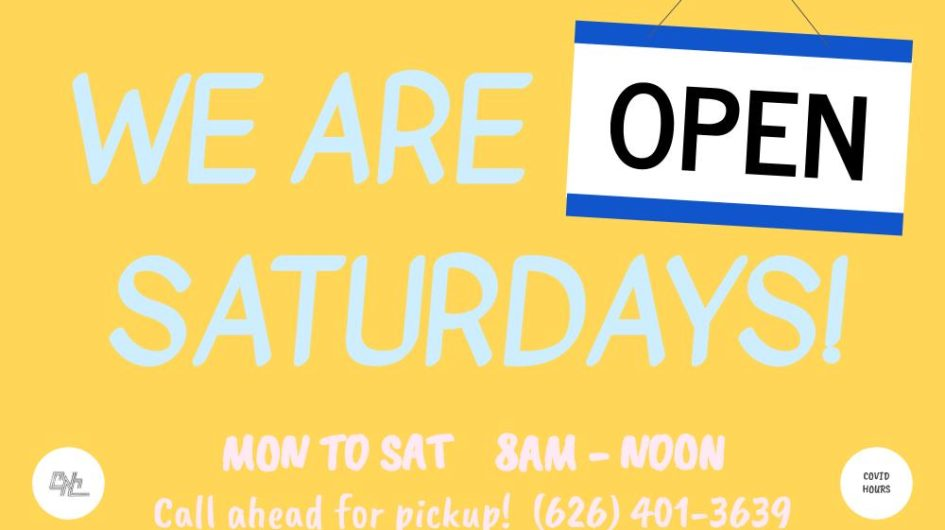 We are back open Saturdays
